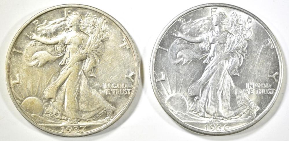 1936-D, 37-S WALKING LIBERTY HALF DOLLARS AU