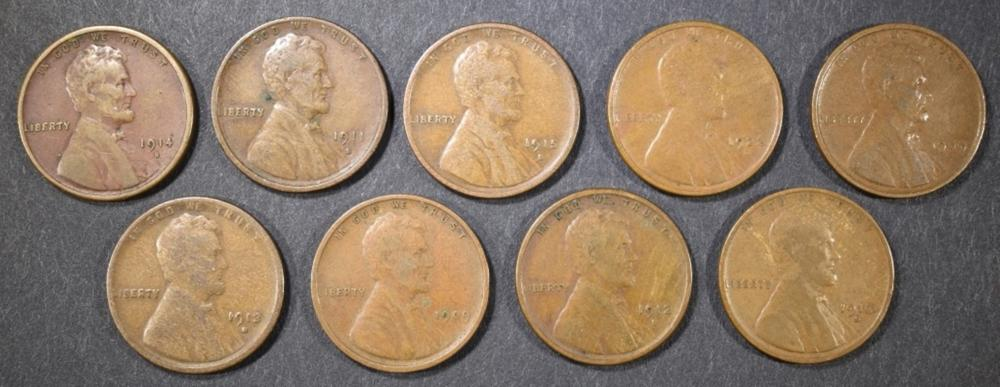 LOT OF 9 MIXED DATE LINCOLN CENTS F-VF