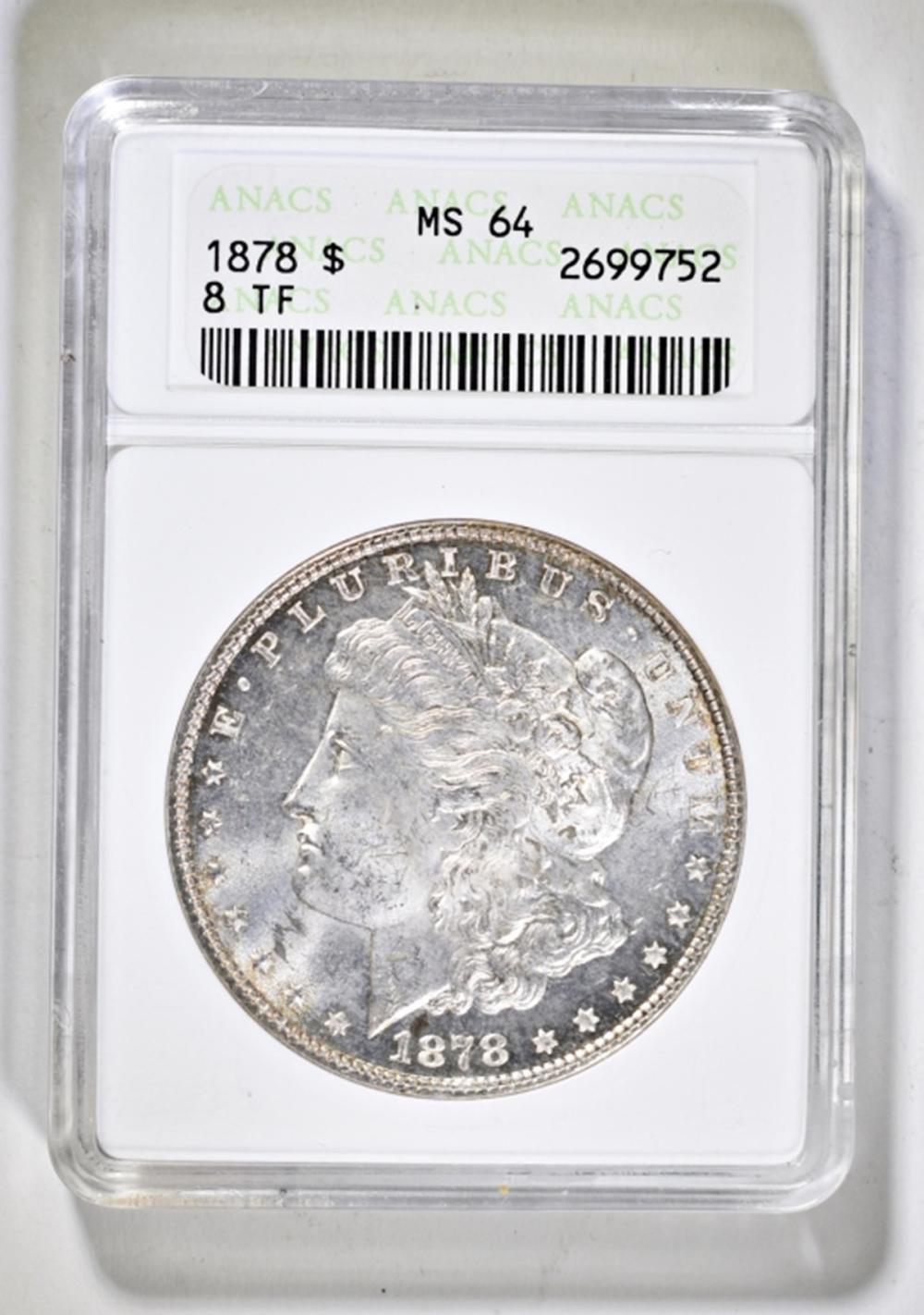 1878 8TF MORGAN DOLLAR ANACS MS-64