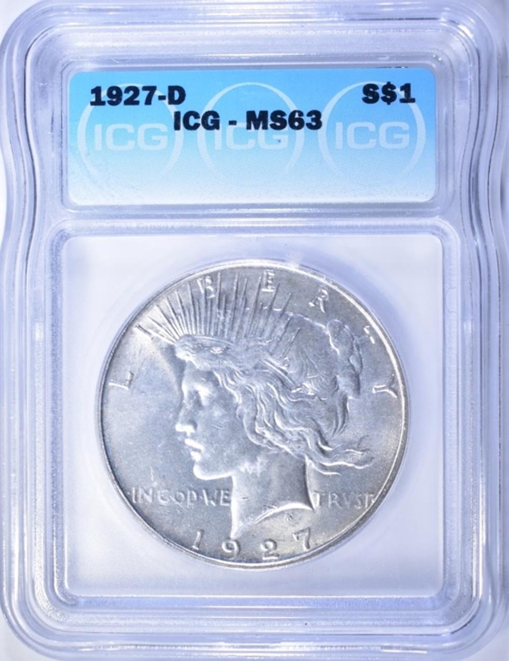 1927-D PEACE DOLLAR  ICG MS-63