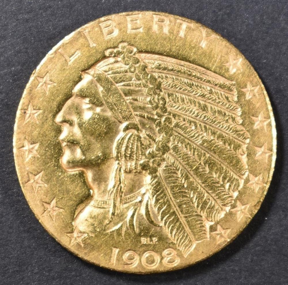 1908-D $5 GOLD INDIAN HEAD  AU