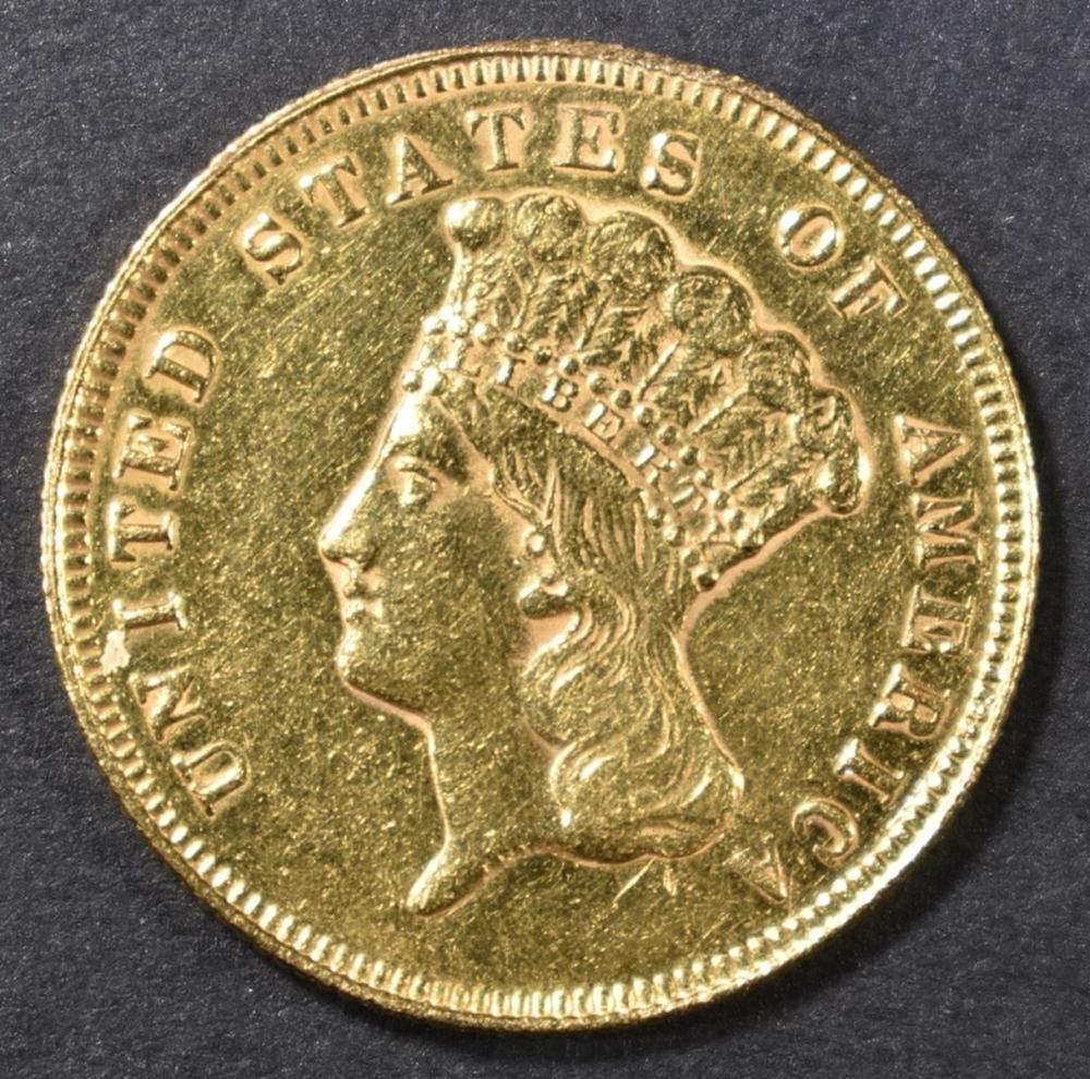 1878 $3 GOLD PRINCESS  BU