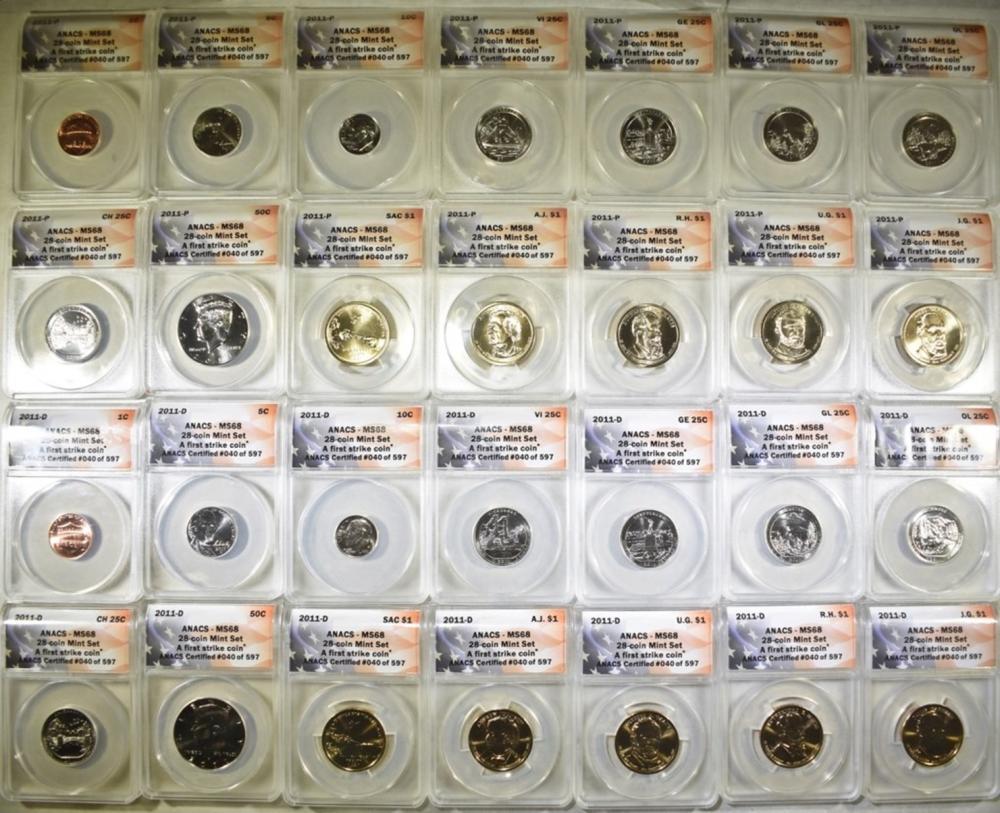 2011-P & D 28-COIN MINT SET  ANACS  MS-68
