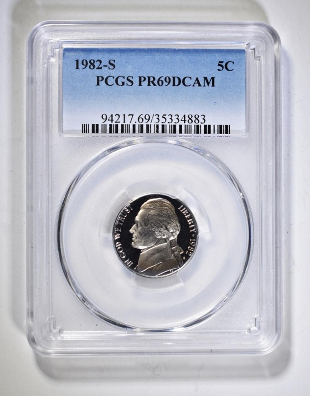 1982-S JEFFERSON NICKEL PCGS PR-69 DCAM