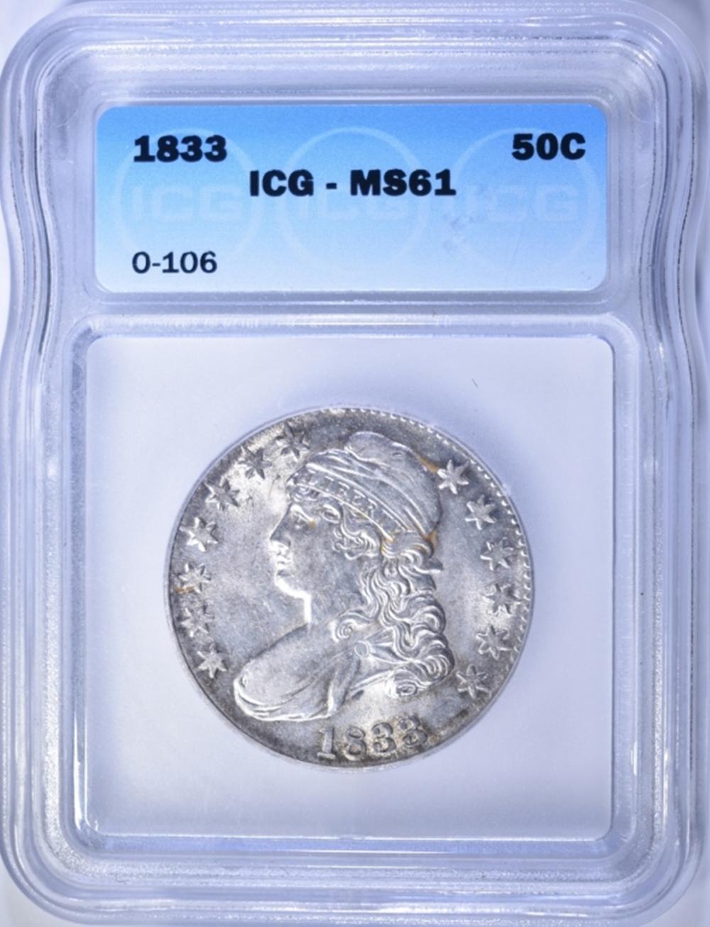 1833 CAPPED BUST HALF DOLLAR  ICG  MS-61