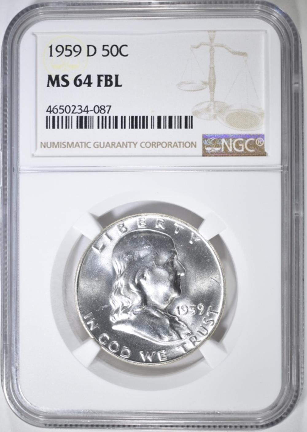 1959-D FRANKLIN HALF DOLLAR  NGC MS-64 FBL