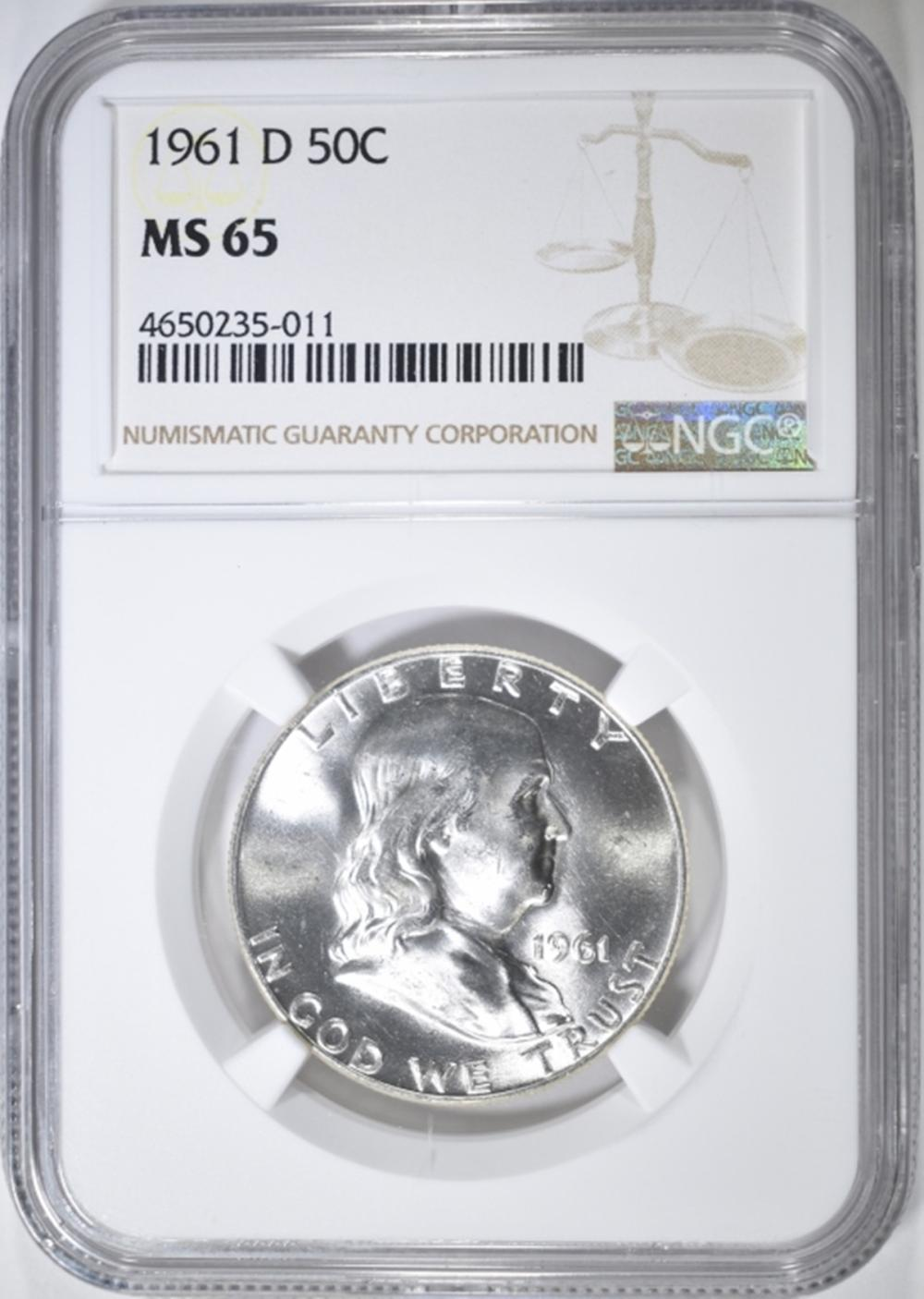 1961-D FRANKLIN HALF DOLLAR  NGC MS-65