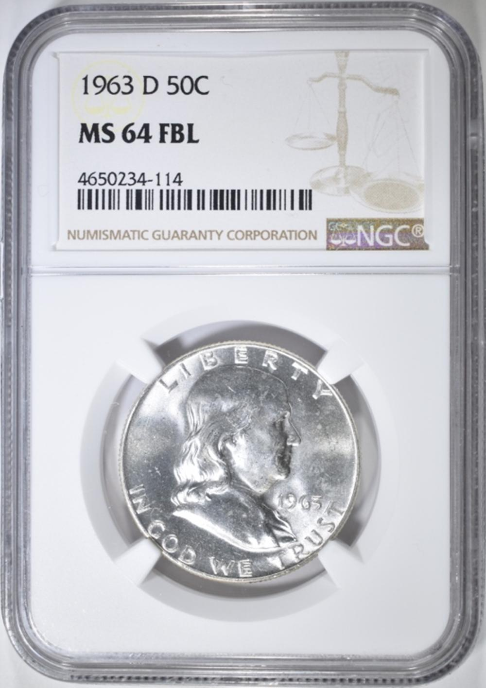 1963-D FRANKLIN HALF DOLLAR   NGC MS-64 FBL