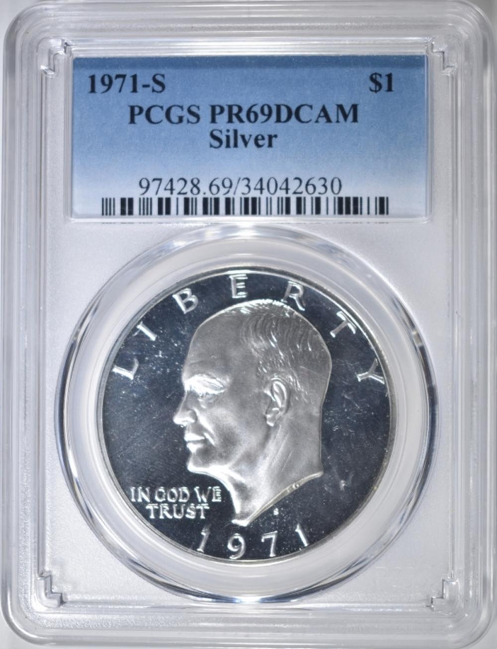 1971-S EISENHOWER SILVER DOLLAR  PCGS PR69DCAM