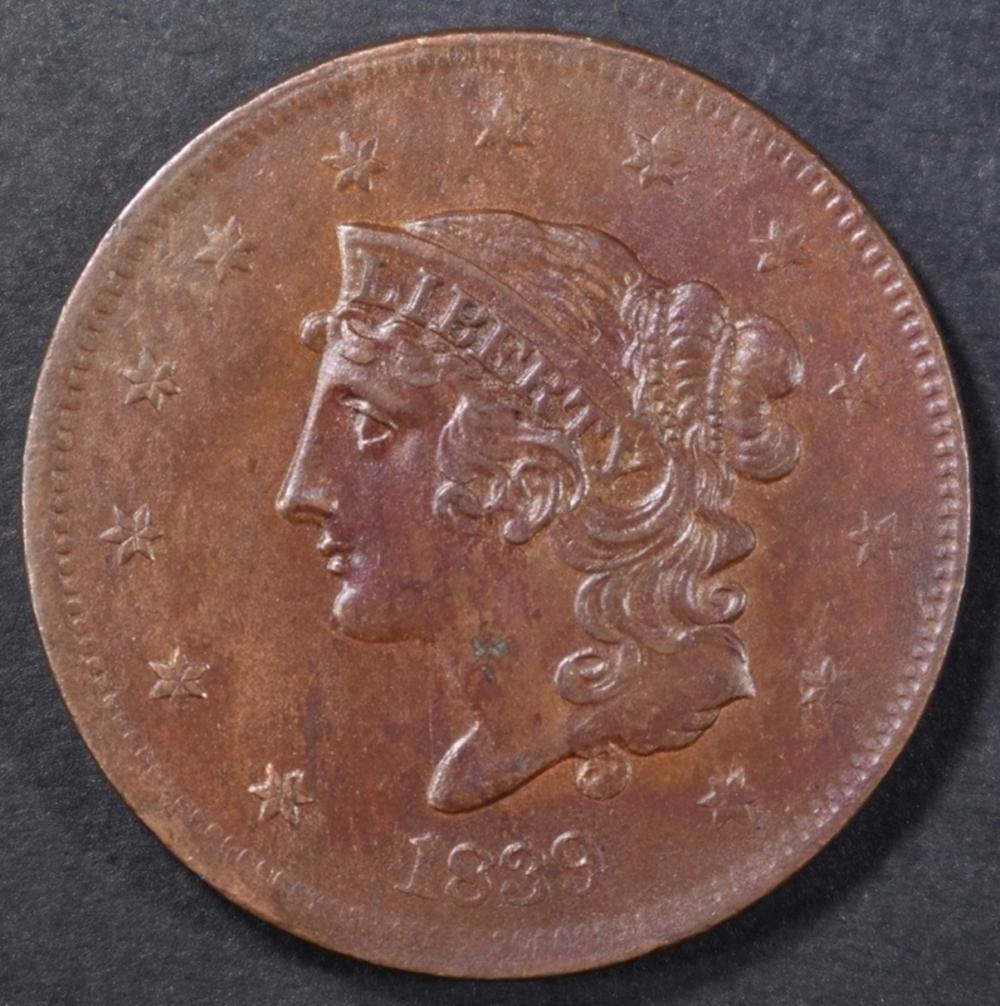 """1839 ONE CENT """"BOOBY HEAD"""" CH UNC"""