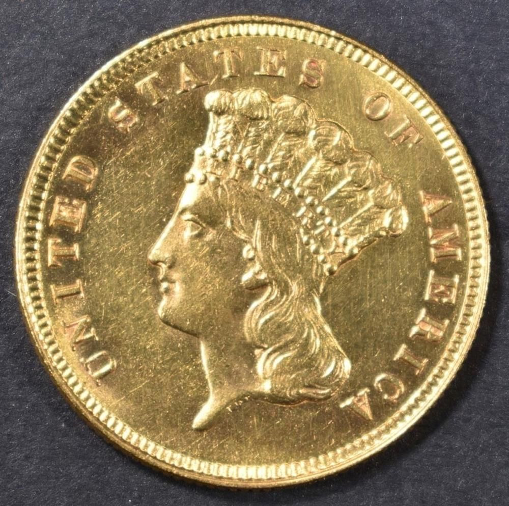 1879 $3 GOLD INDIAN PRINCESS HEAD  CH BU
