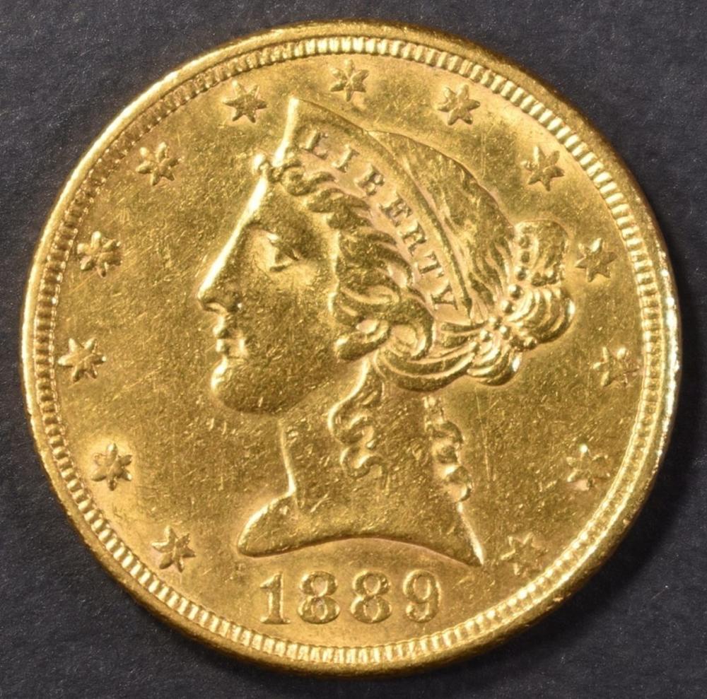 1889 GOLD $5 LIBERTY HEAD CH BU  MOTTO ABOVE EAGLE