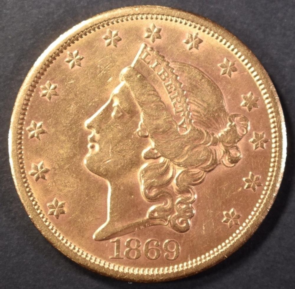 1869-S GOLD $20 LIBERTY HEAD BU