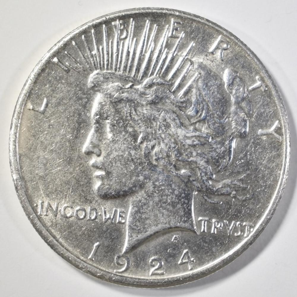 1924-S PEACE DOLLAR  CH AU