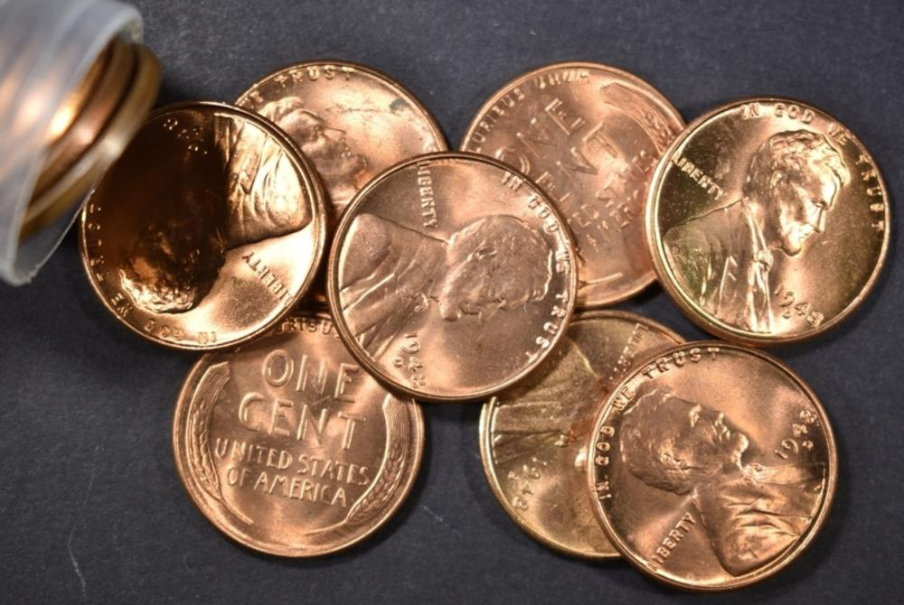 BU 1948-D LINCOLN CENT ROLL