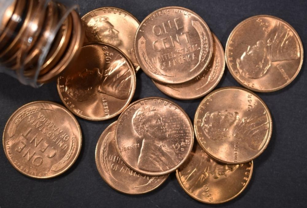 BU 1948-S LINCOLN CENT ROLL