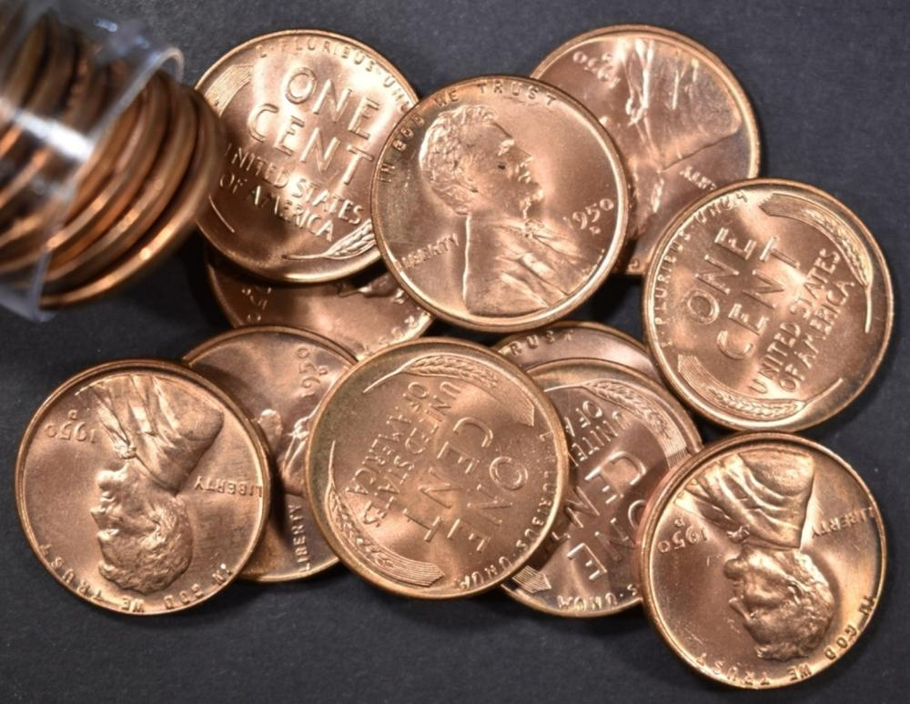 BU 1950-D LINCOLN CENT ROLL