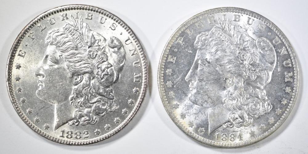 1882 & 1884-O  MORGAN DOLLARS, CH BU