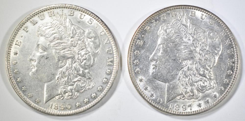 1890 & 1897 MORGAN DOLLARS, AU/BU