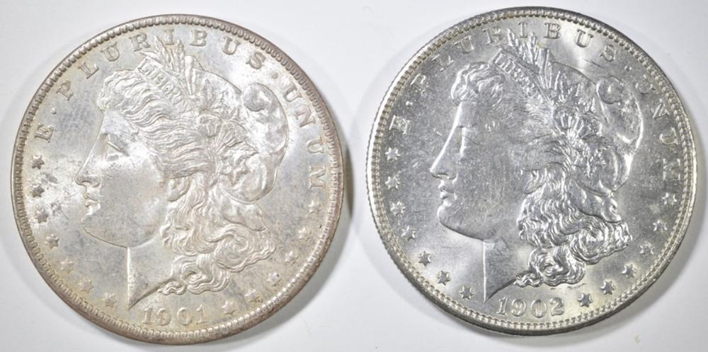 1901-O & 1902-O CH BU MORGAN DOLLARS