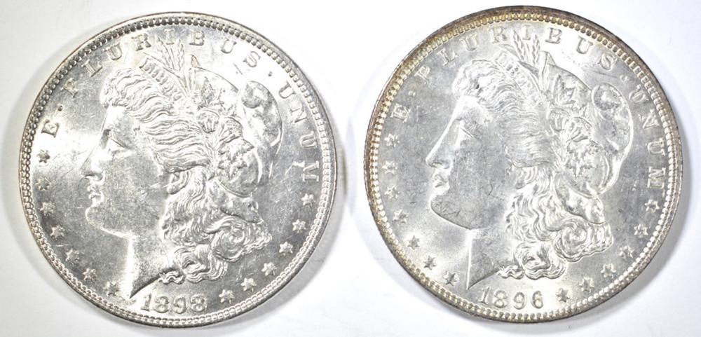 1896 & 1898 MORGAN DOLLARS, CH BU