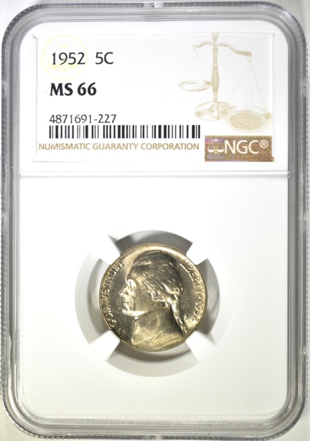 1952 NGC MS 66 JEFFERSON NICKEL