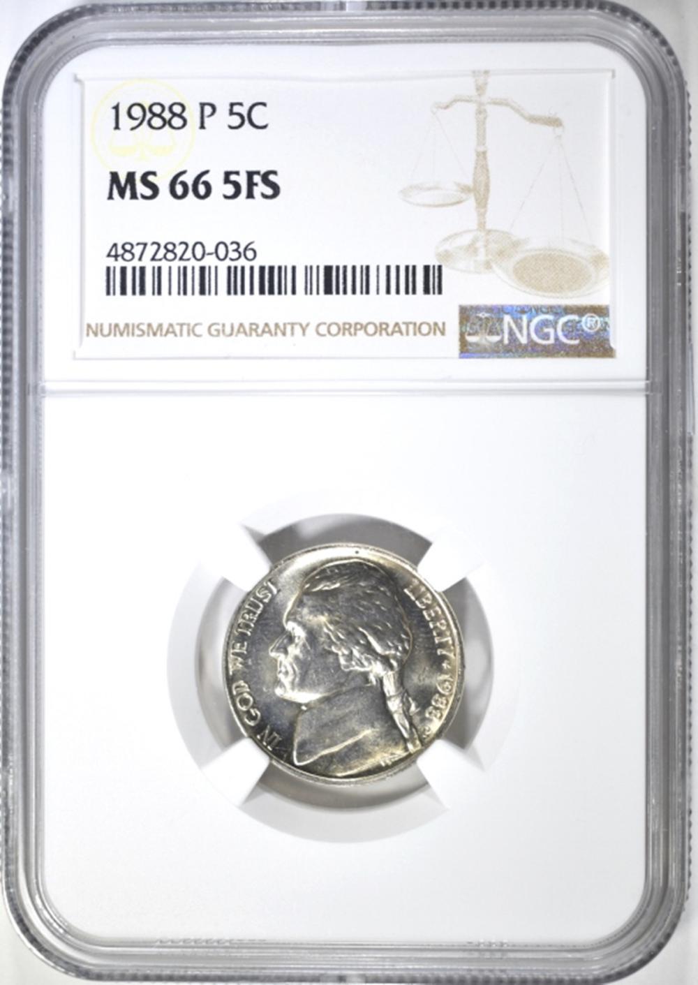 1988-P JEFFERSON NICKEL NGC MS 66 5FS
