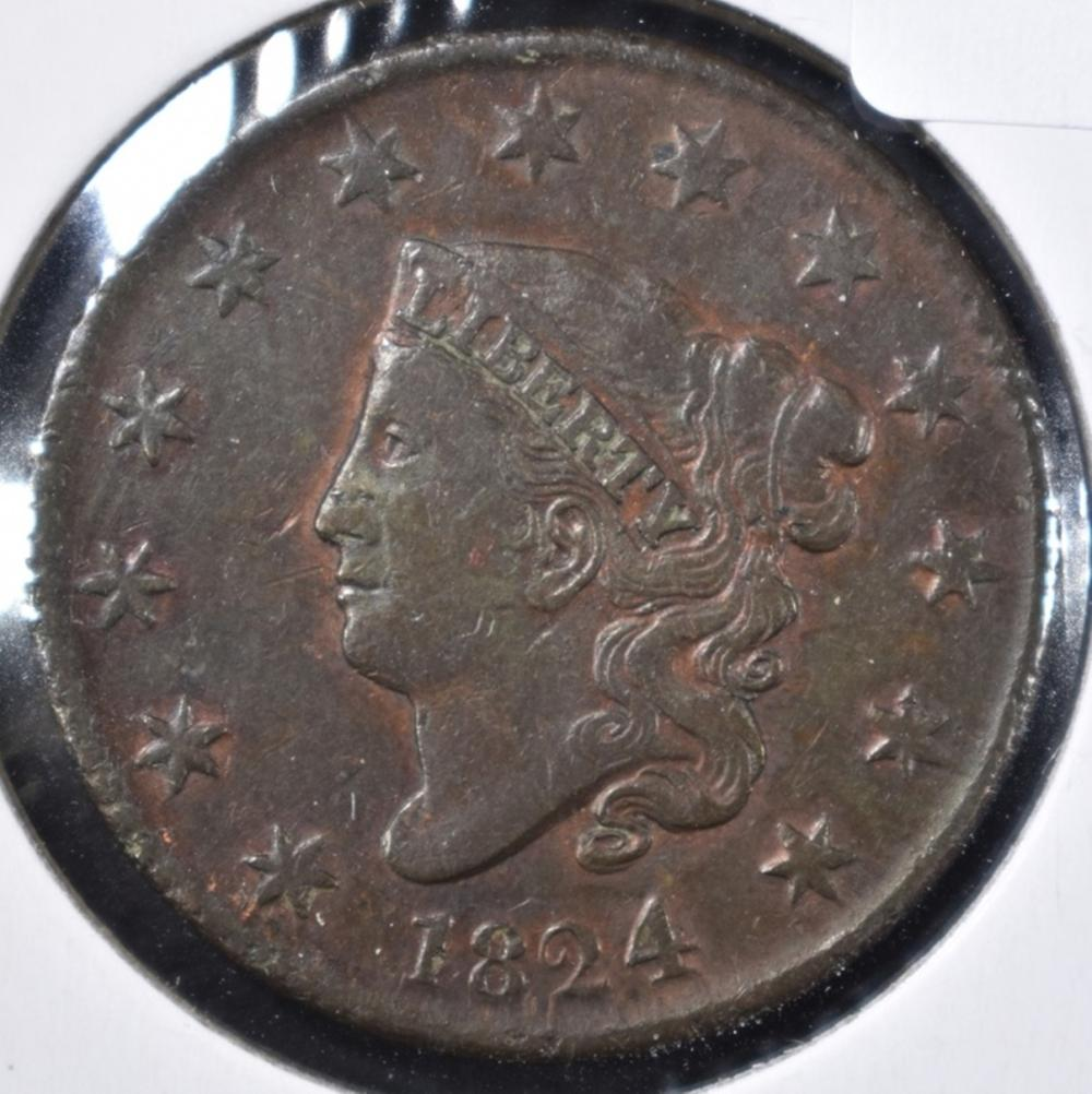 Lot 3: 1824 LARGE CENT, VF/XF