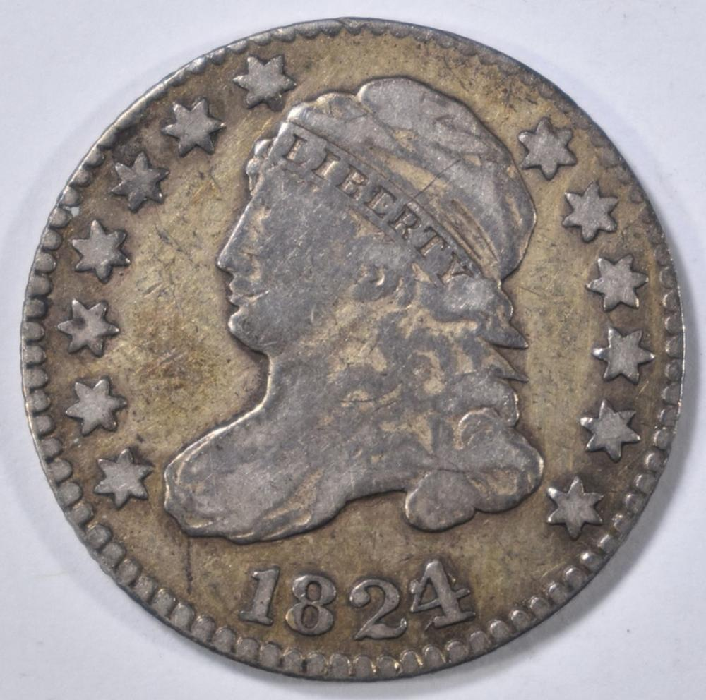 Lot 5: 1824/2 BUST DIME, F/VF