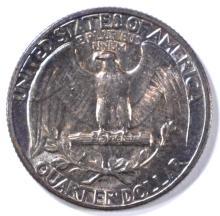 Lot 9: 1941 WASHINGTON QUARTER GEM BU RAINBOW COLOR