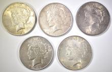 Lot 23: 5-1922-P PEACE DOLLARS, CIRC