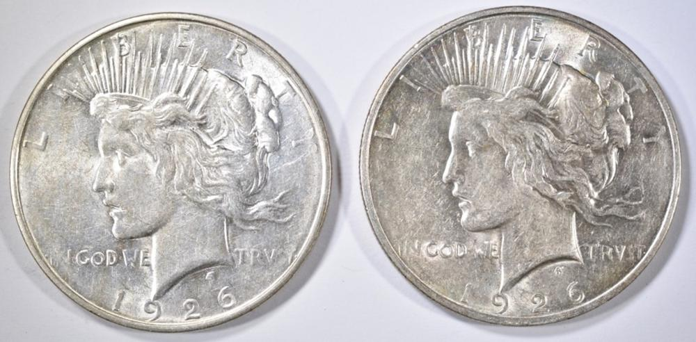 Lot 21: (2) 1926-D PEACE DOLLARS AU