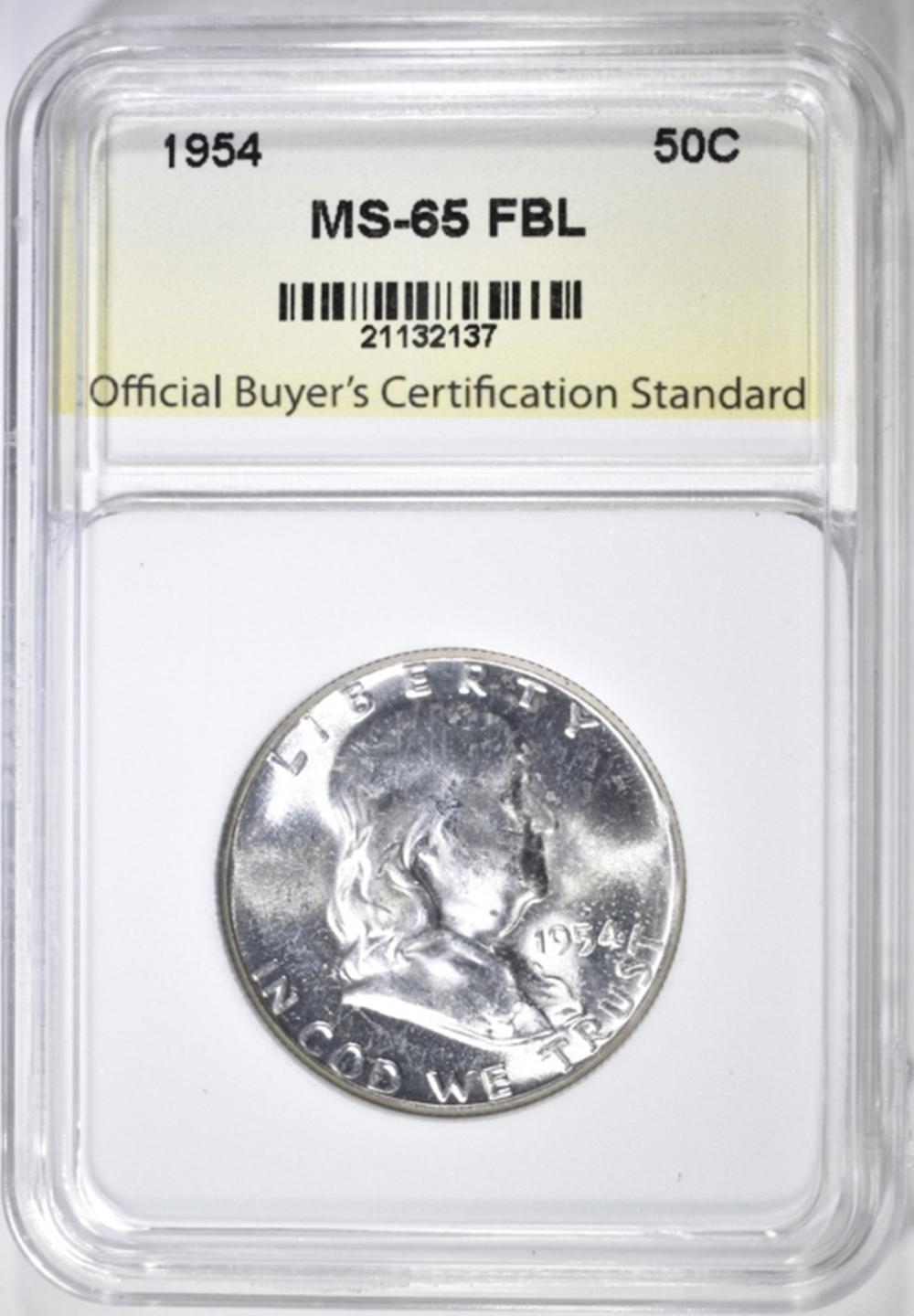Lot 29: 1954 FRANKLIN HALF DOLLAR, OBCS GEM BU FBL