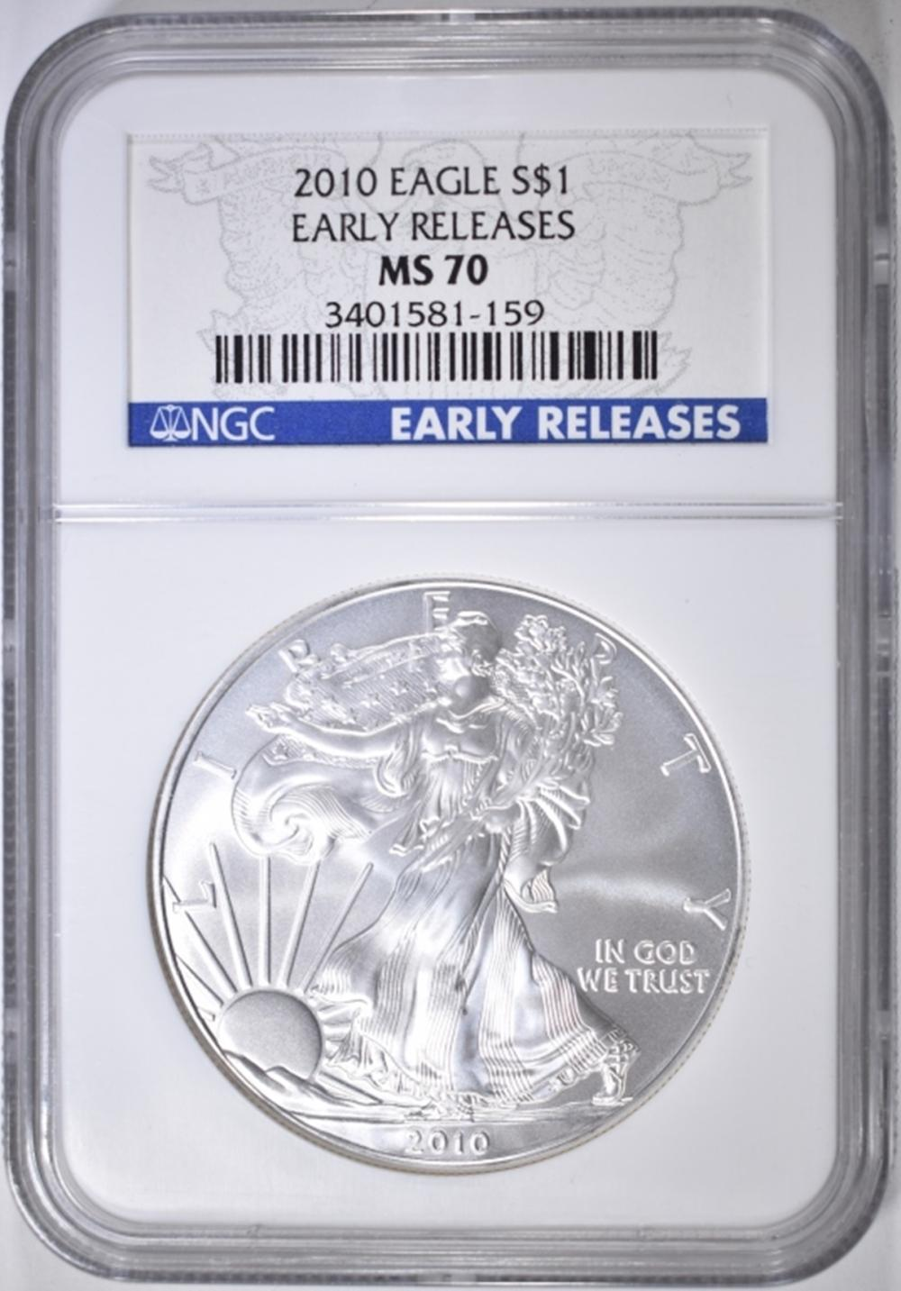 Lot 39: 2010 AMERICAN SILVER EAGLE, NGC MS-70