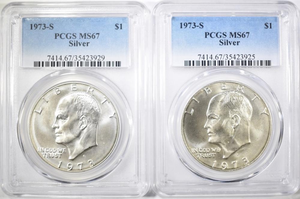 2-1973-S SILVER IKE DOLLARS, PCGS MS-67