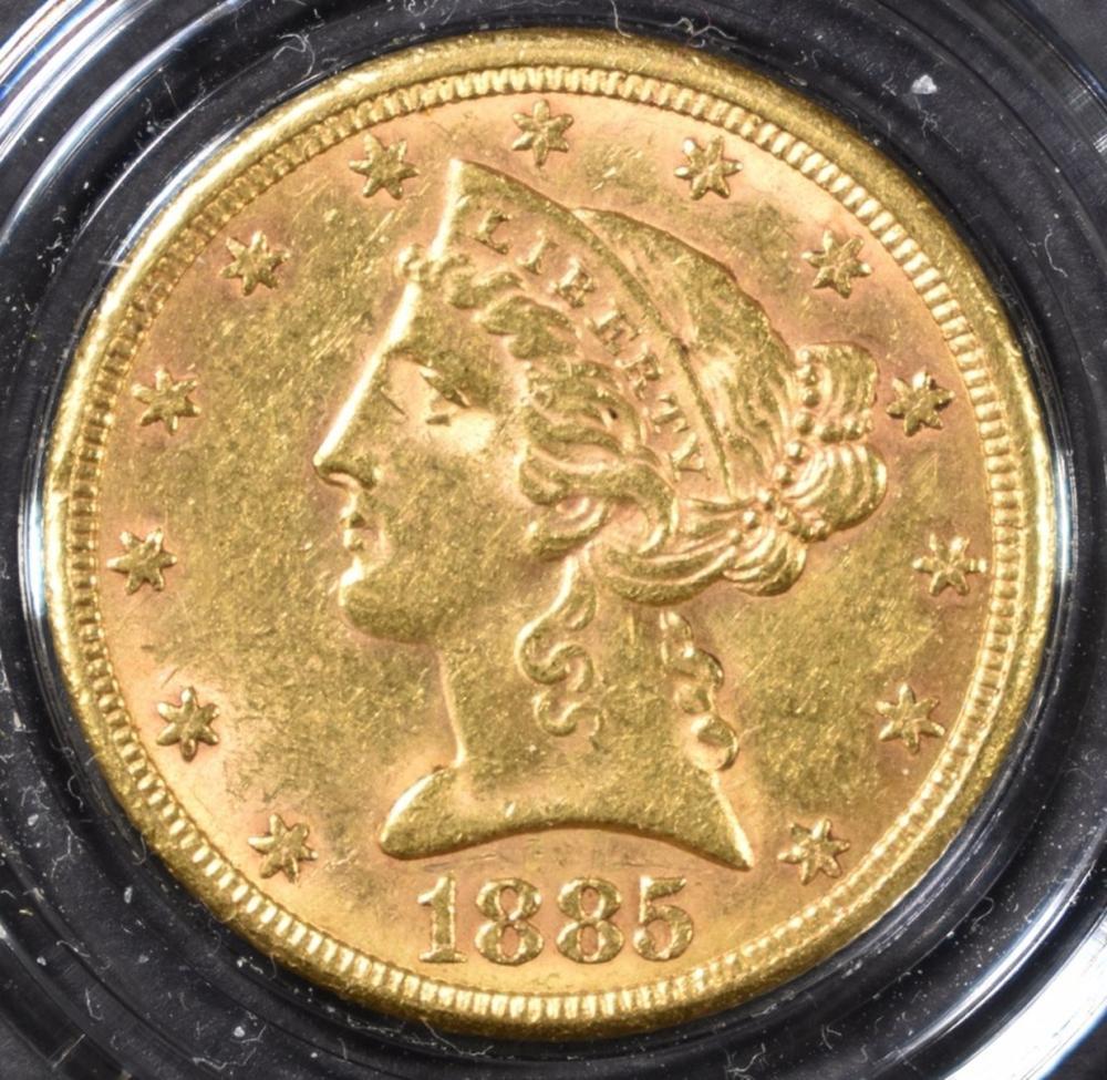 Lot 46: 1885 $5 GOLD LIBERTY BU