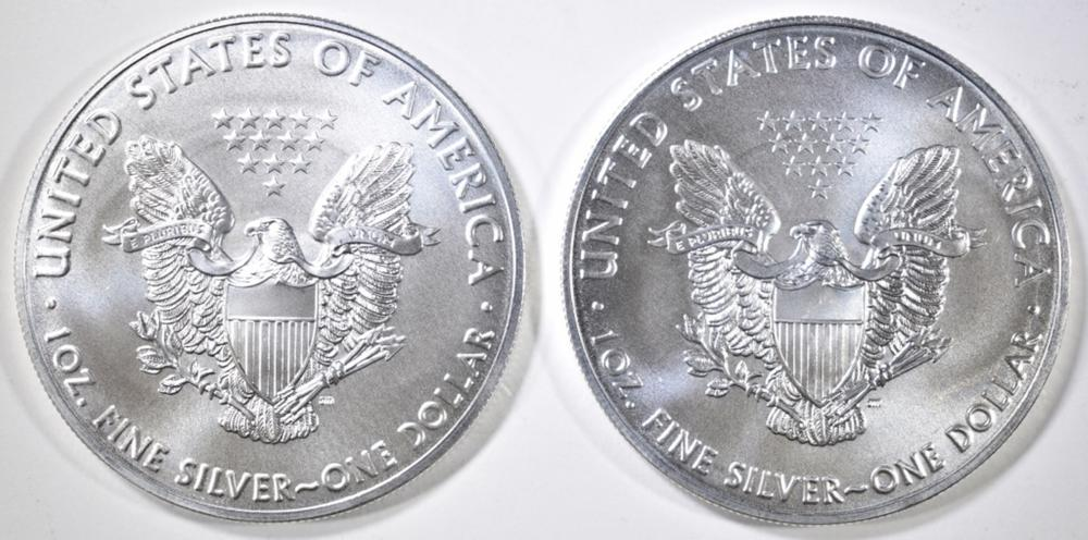 Lot 44: 2-GEM BU 2019 AMERICAN SILVER EAGLES