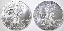 Lot 43: 2012 & 15 BU AMERICAN SILVER EAGLES