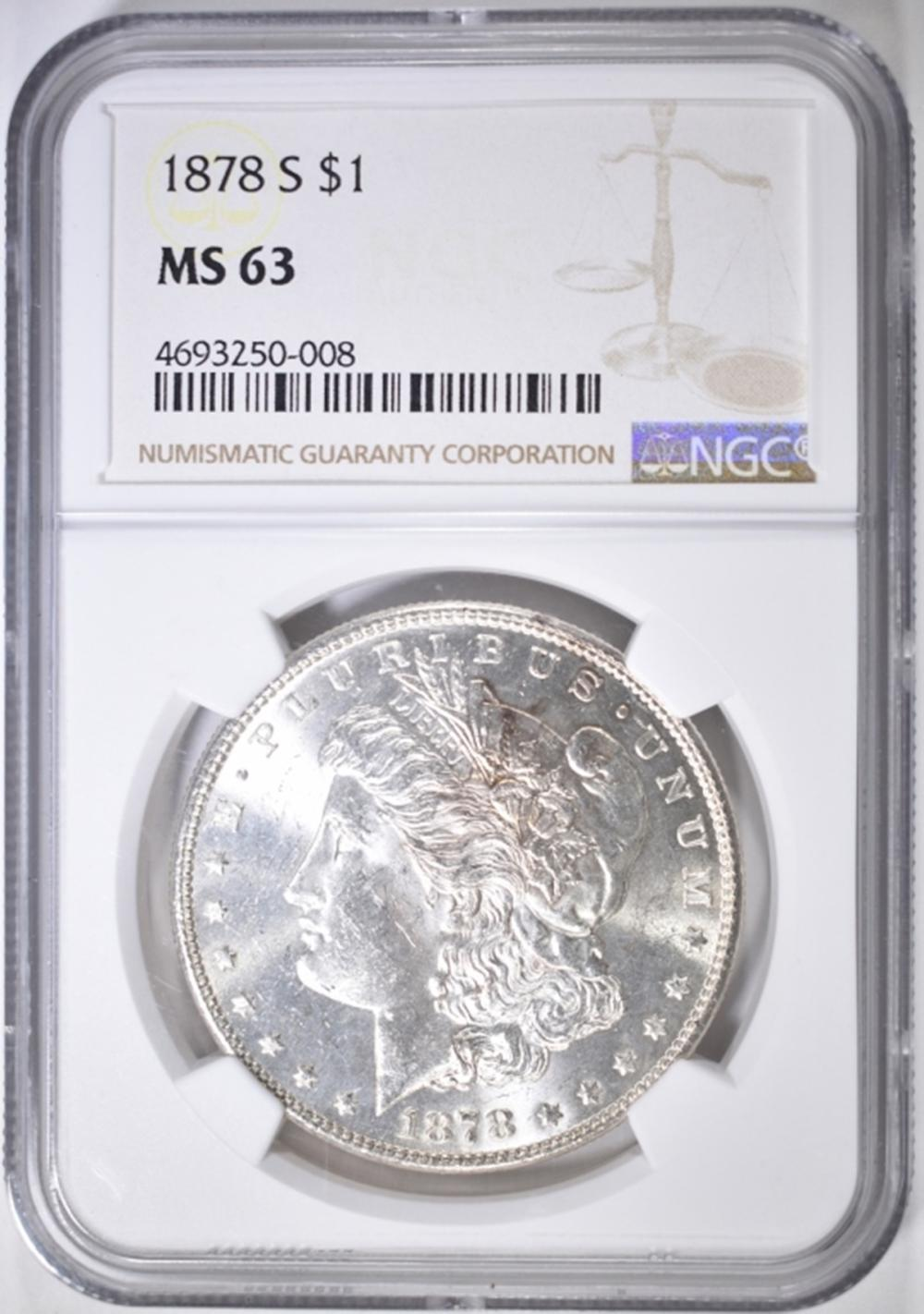 1878-S MORGAN DOLLAR  NGC MS-63