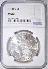 Lot 53: 1878-S MORGAN DOLLAR NGC MS-63