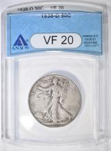 Lot 57: 1938-D WALKING LIBERTY HALF DOLLAR ANACS VF-20