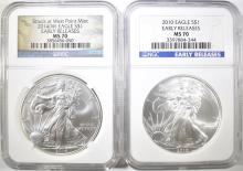 Lot 61: 2 NGC MS-70 EARLY RELEASES AMERICAN SILVER EAGLES: