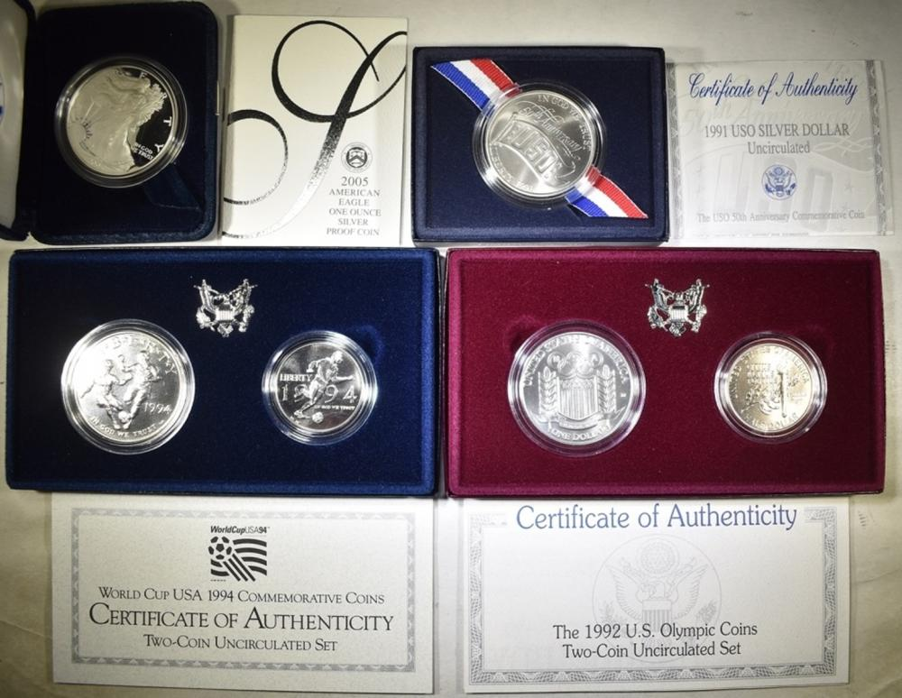 LOT OF 4 SILVER COIN SETS WITH COA: