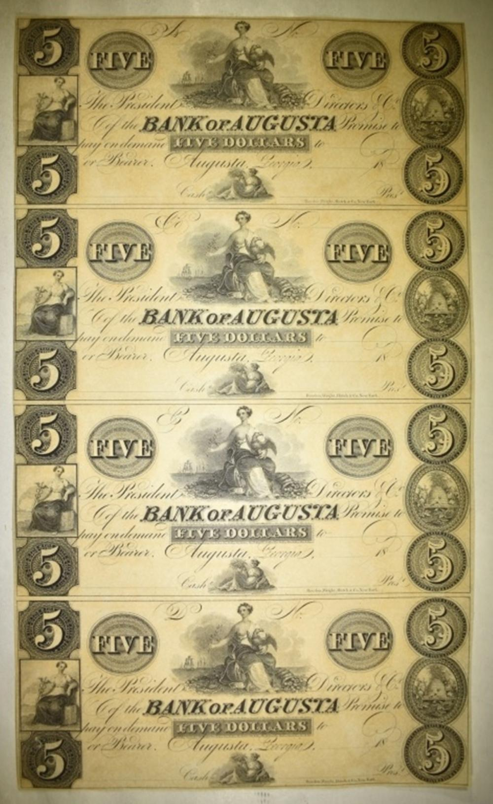 Lot 83: UNCUT SHEET OF 4-BANK OF AUGUSTA $5.00 NOTES