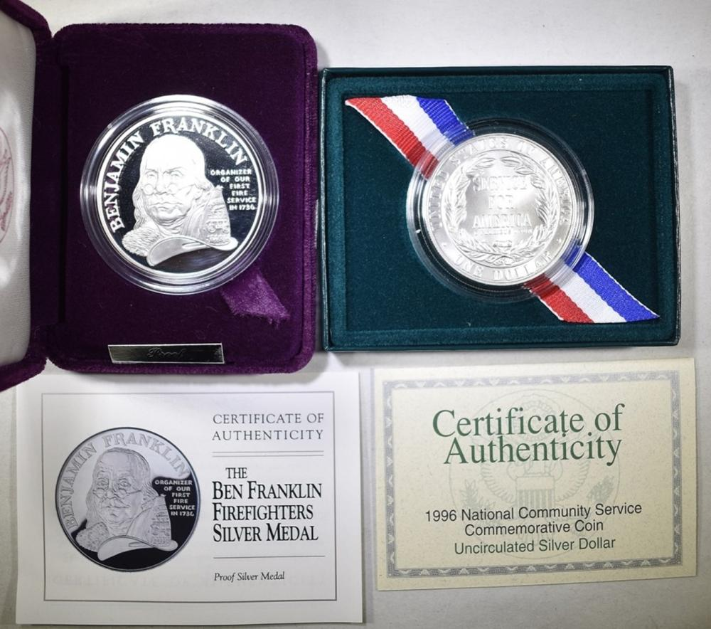 Lot 86: LOT OF 2 SILVER COINS WITH COA: