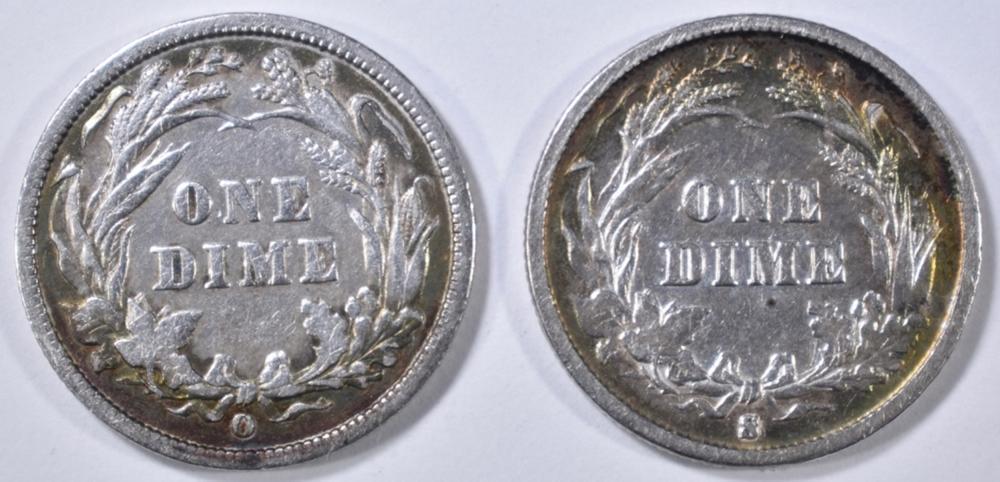 Lot 79: 1892-O & 1893-S BARBER DIMES XF/AU