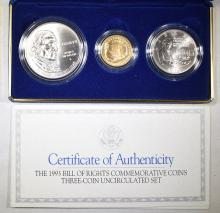 Lot 88: 1993 BILL OF RIGHTS COMMEMORATIVE 3-COIN UNC SET