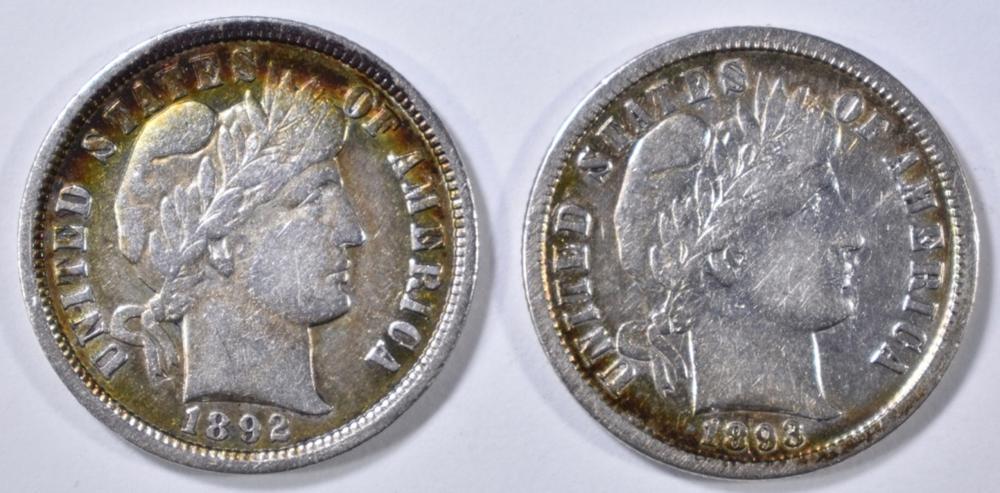 1892-O & 1893-S BARBER DIMES  XF/AU