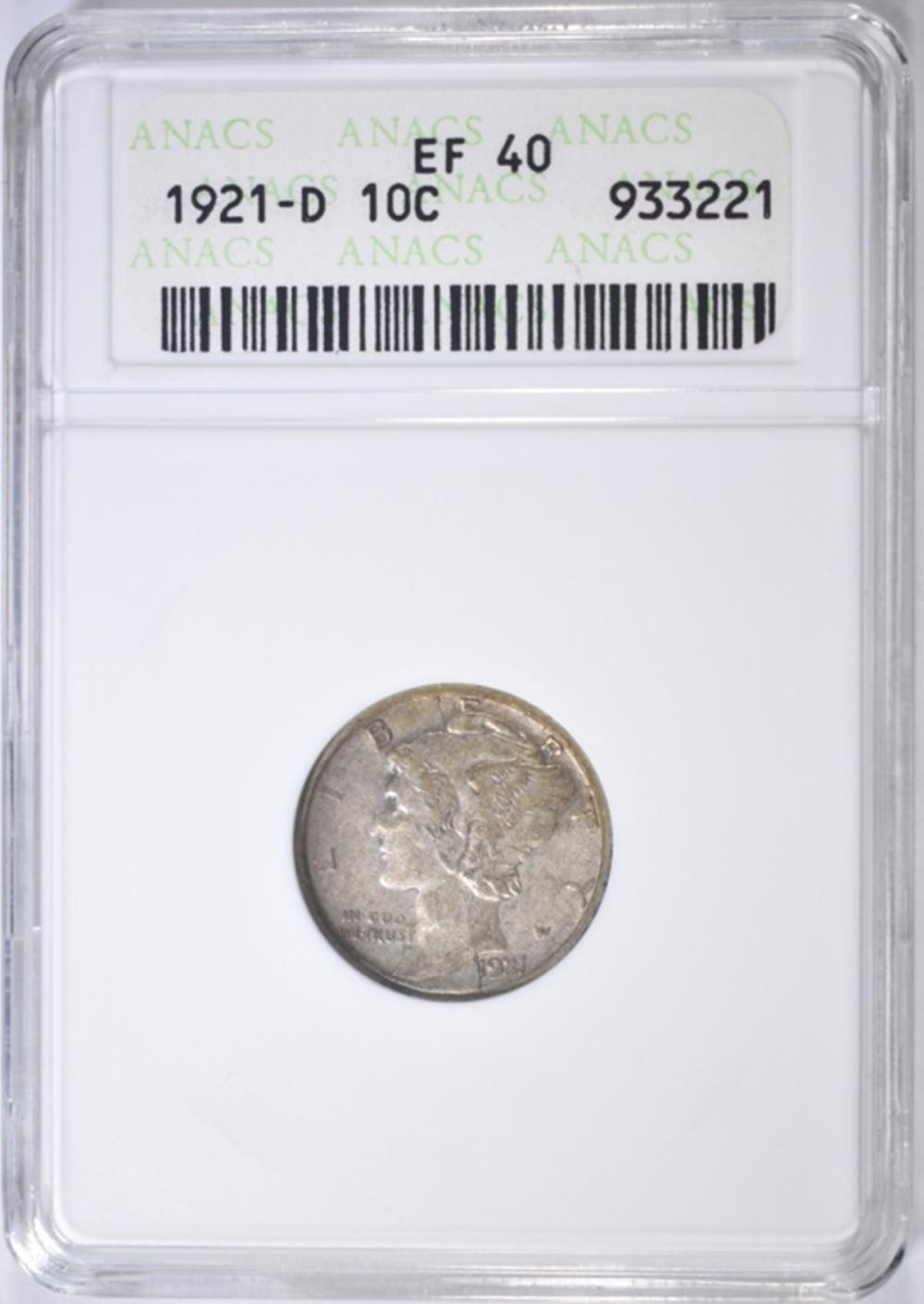 Lot 97: 1921-D MERCURY DIME ANACS EF-40