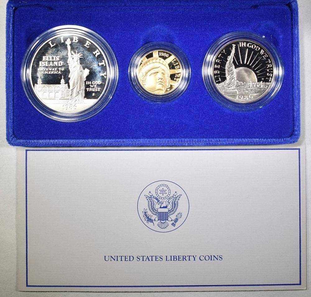 1986 US LIBERTY 3-COIN PROOF SET WITH COA